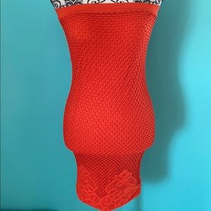 Bebe Mesh Fishnet Stretch Fitted Tunic Blouse Top